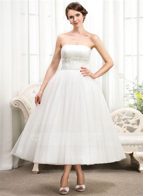 Ball Gown Strapless Tea Length Tulle Wedding Dress With