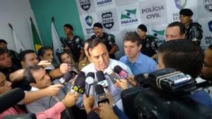 Secretário da Segurança Pública e Administração Penitenciária, Fernando Francischini, durante coletiva à imprensa em Maringá. Foto: divulgação / Polícia Civil