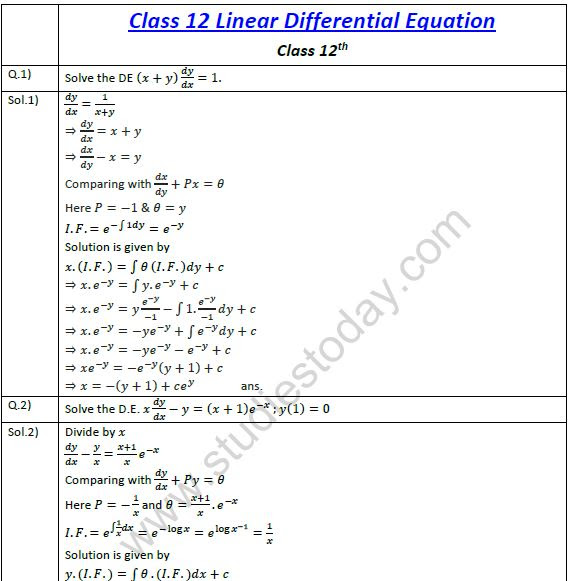 Cbse Class 12 Mathematics Linear Differential Equations 3 Practice
