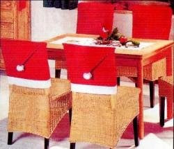 Pack of 4 Soft Red and White Fabric Santa Hat Christmas Chair Slip Covers
