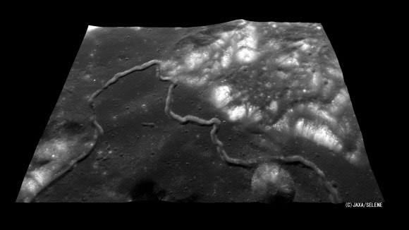 The Hadley Rille, at the foot of the Apennine Mountains encircling the Mare Imbrium where Apollo 15 landed (NASA/JAXA)