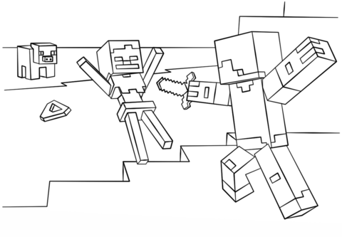 Disegno Di Steve Contro Lo Scheletro Di Minecraft Da Colorare