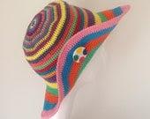 Bohemian Crochet Summer Hat with Brooch - Crochet Beach Hat - Women's Brim Sun Hat - Boho Hat - Handmade Hat - Summer accessories