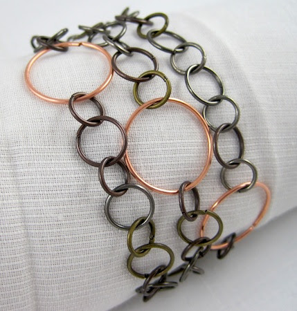 Mixed Metal Jump Ring Bracelet by Rena Klingenberg