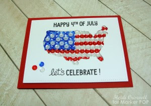 """I stamped the sentiments from the """"Happy 4th"""" stamp set by Lawn Fawn and added few sequins on the outside to represent Hawaii and Alaska."""