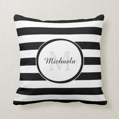 Trendy Black White Stripes With Monogram and Name Throw Pillow