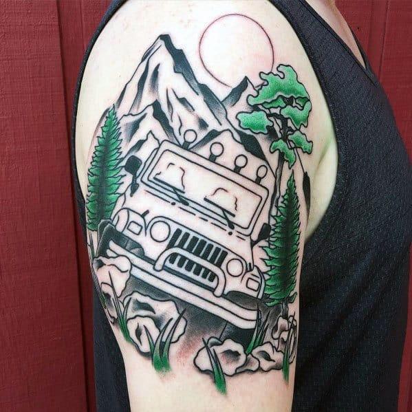 Jeep Themed Tattoo Design Inspiração