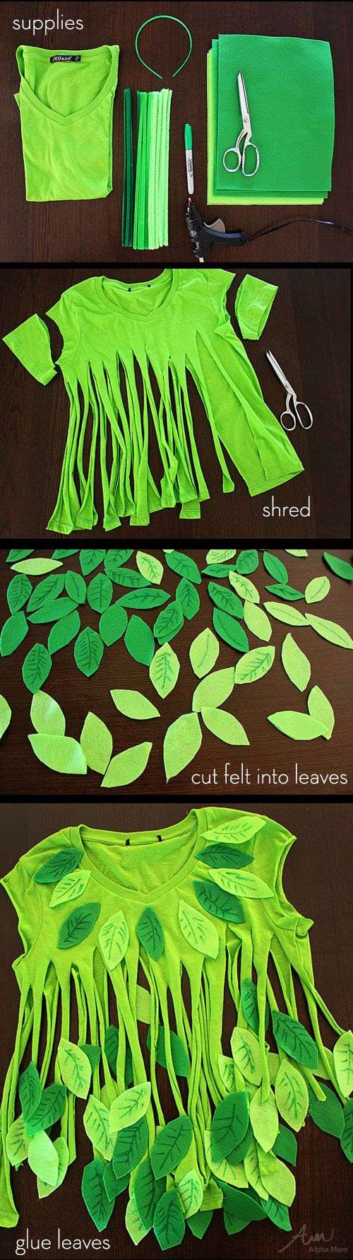 No-Sew Leaf Fairy Costume. Or tree costume.