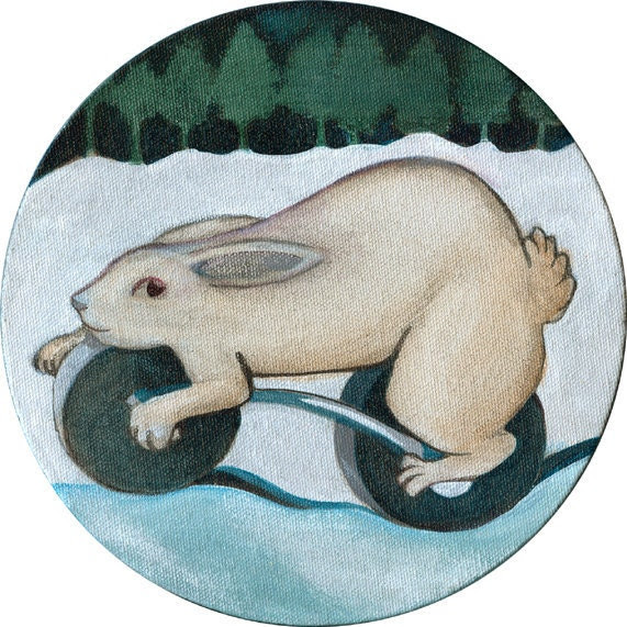 Wheeled Rabbit round acrylic painting