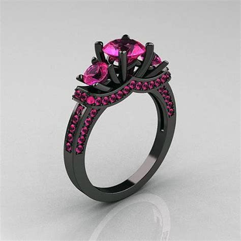 Black Gold Rings With Pink Diamonds   Inofashionstyle.com