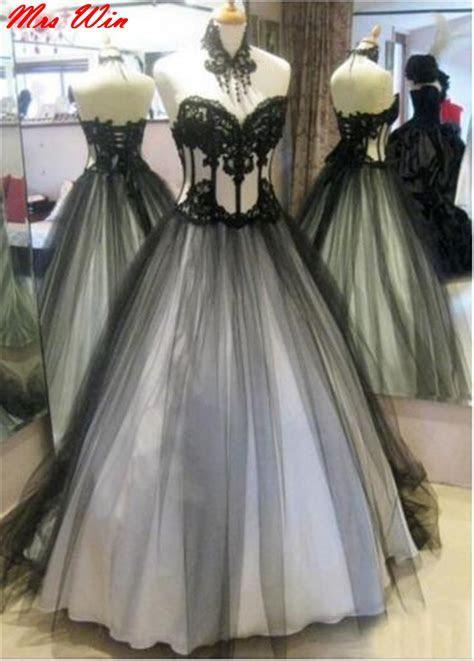 vestidos novia 2017 Country Western White Black Gothic