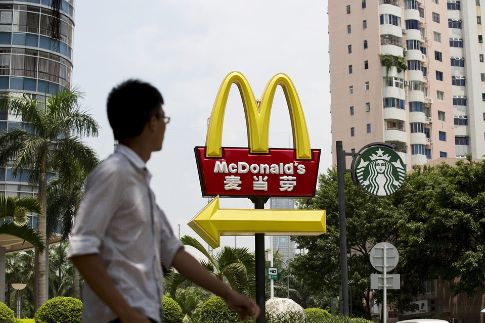 McDonald's and Starbucks signs in Shenzhen, China, in August 2014. China became the world's top destination for foreign investment last year.