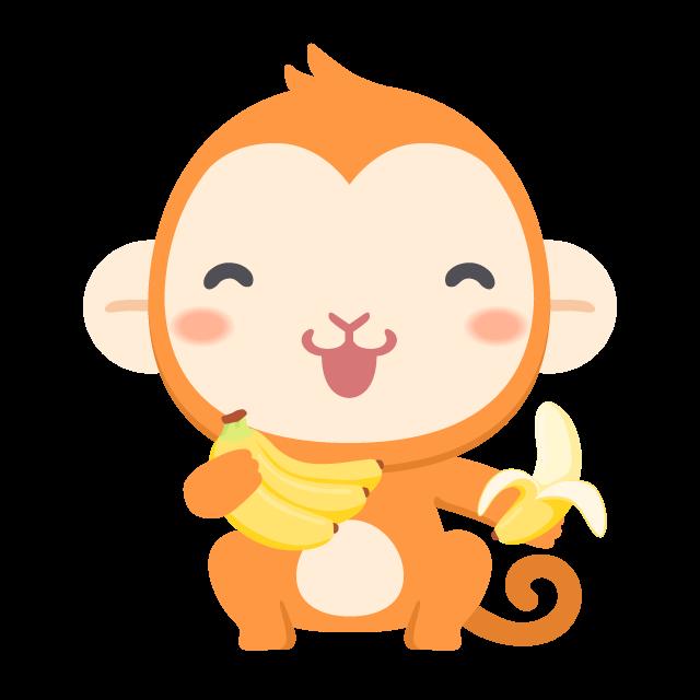 大好きなバナナを手にご満悦な猿の無料ベクターイラスト素材 Picaboo ピカブー 無料ベクターイラスト素材