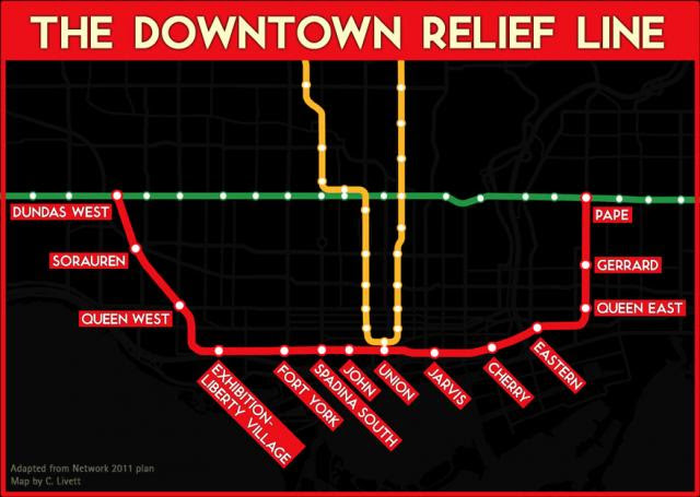 The Downtown Relief Line, map by Christopher Livett