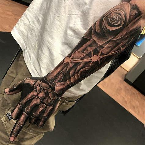 pin tj lewis tats cool arm tattoos skeleton hand
