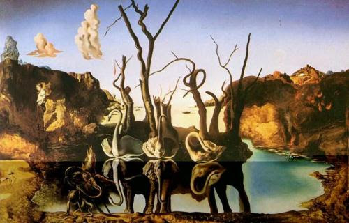 rainingbluefloyd:  Dalì, Swans Reflecting Elephants. 1937.  No one can create a picture like Dali. A picture with hidden meanings about his many obsessions. The more you stare at it, the more you can see. Disturbing images from Dali's youth. Could that be Dali standing off to the left side by himself, with his hands in his pockets, staring off into space? A man who never fit in with his peers or society. A man who used his demons to create works of art.