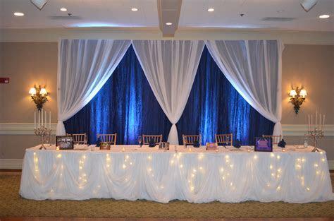 Navy Blue & White Fairy tale Wedding Reception Head Table