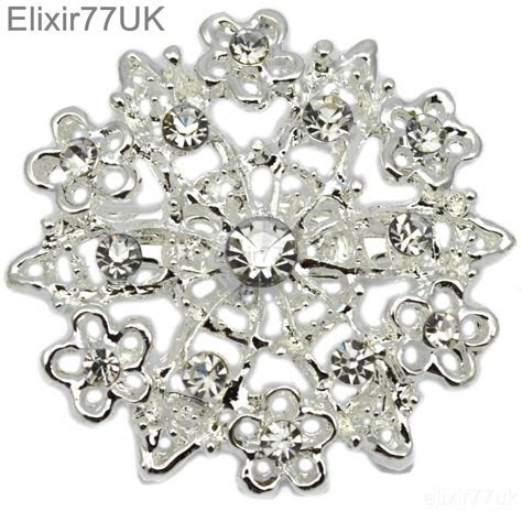 5 100 SILVER CRYSTAL BROOCH JOBLOT BRIDAL WEDDING BOUQUET