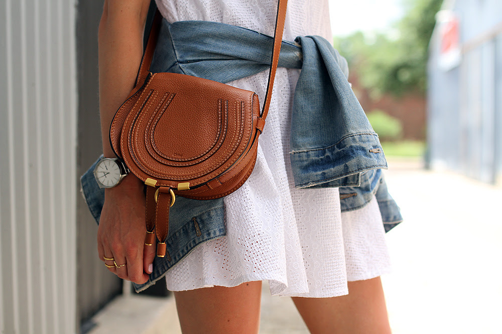 white eyelet dress-denim jacket-chloe tan crossbody