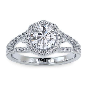 Hexagon Halo Diamond Engagement Ring