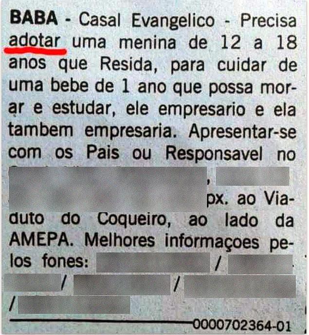 Anuncio publicado em jornal do Pará