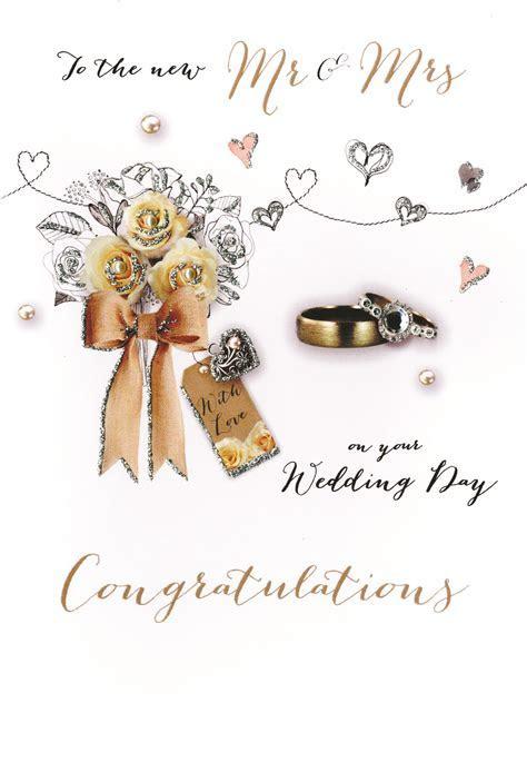 Mr & Mrs Wedding Congratulations Embellished Greeting Card