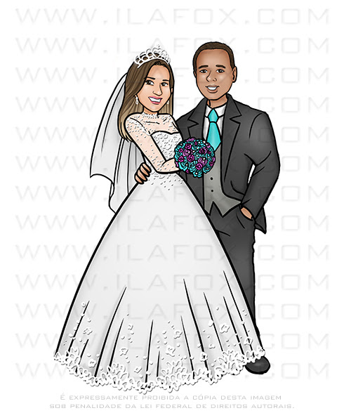 caricatura noivos, caricatura casamento, caricatura casais, caricatura bonita, caricatura digital, by ila fox