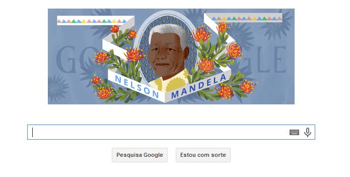 Doodle tem imagem de Mandela nesta sexta (Foto: Reprodução/Google)