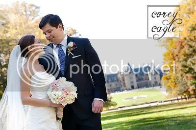 Bride and groom at Biltmore Estate's Diana Garden