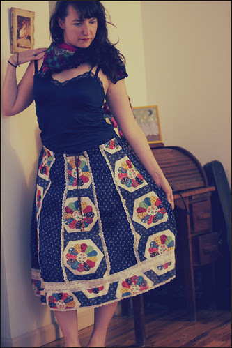 faux patchwork skirt
