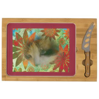 snowshoe sixties flower child kitty rectangular cheese board