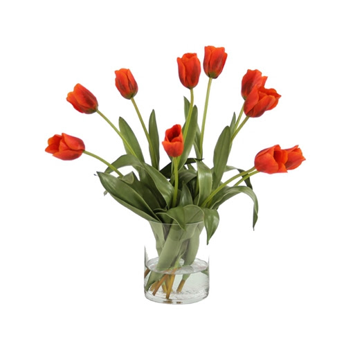 Waterlook \u00ae Silk RedOrange Tulips in a Glass Cylinder Vase  Free Shipping in USA  1001Shops