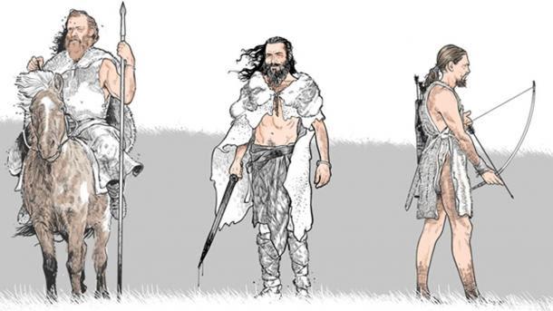 rappresentazione dell'artista di come guerrieri erano equipaggiati per la battaglia.