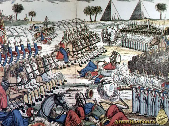 Soldados napoleónicos en la batalla de las Pirámides