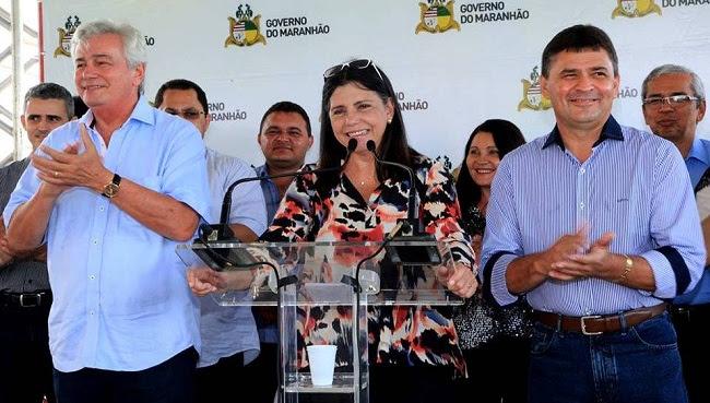 Arnaldo Melo, Roseana e o prefeito Airton Mota, durante inauguração do hospital de 20 leitos em Nova Iorque do MA