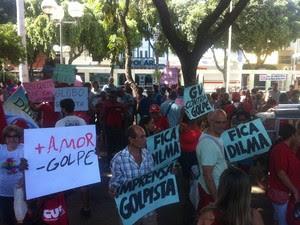 Manifestantes gritava em favor de Dilma Rousseff (PT). (Foto: Sávio Scarabelli/G1)
