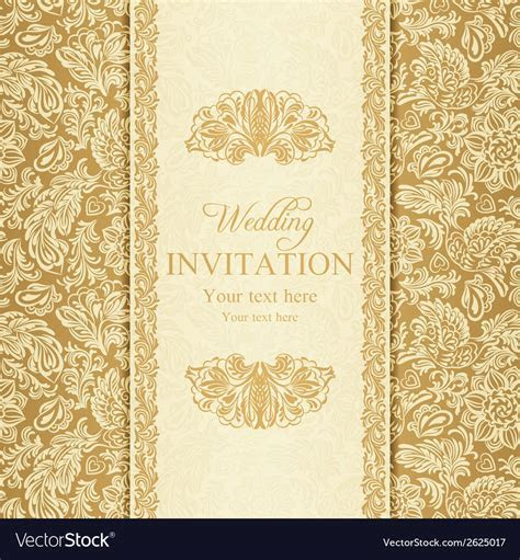 Baroque wedding invitation gold Royalty Free Vector Image