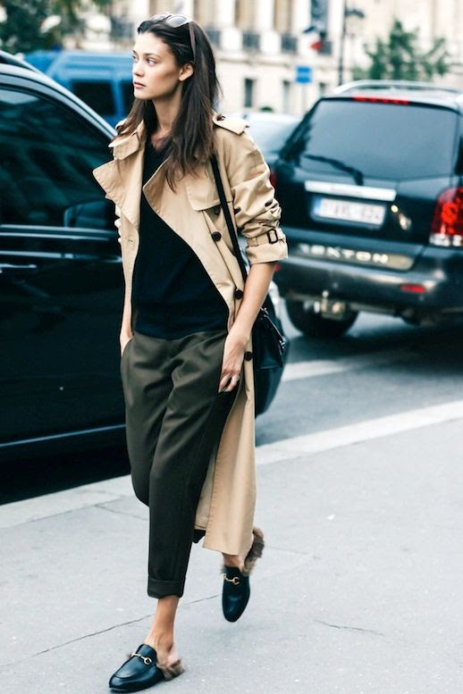 Le Fashion Blog Street Style Pfw Model Off Duty Diana Moldovan Khaki Trench Coat Cropped Green Pants Gucci Fur Lined Flats Via Vogue Paris