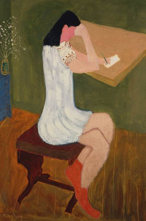 poboh:  Girl Writing, Milton Avery. American (1885 - 1965)