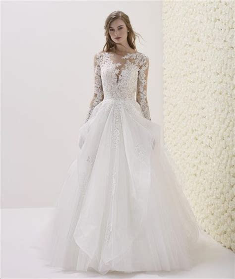 Long Sleeve Illusion Sweetheart Neck Lace Bodice Ball Gown