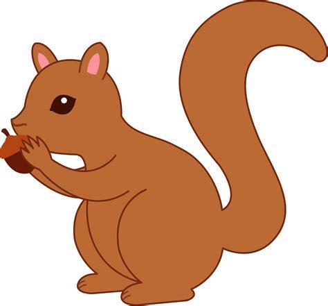 Cute Squirrel Eating Acorn   Free Clip Art