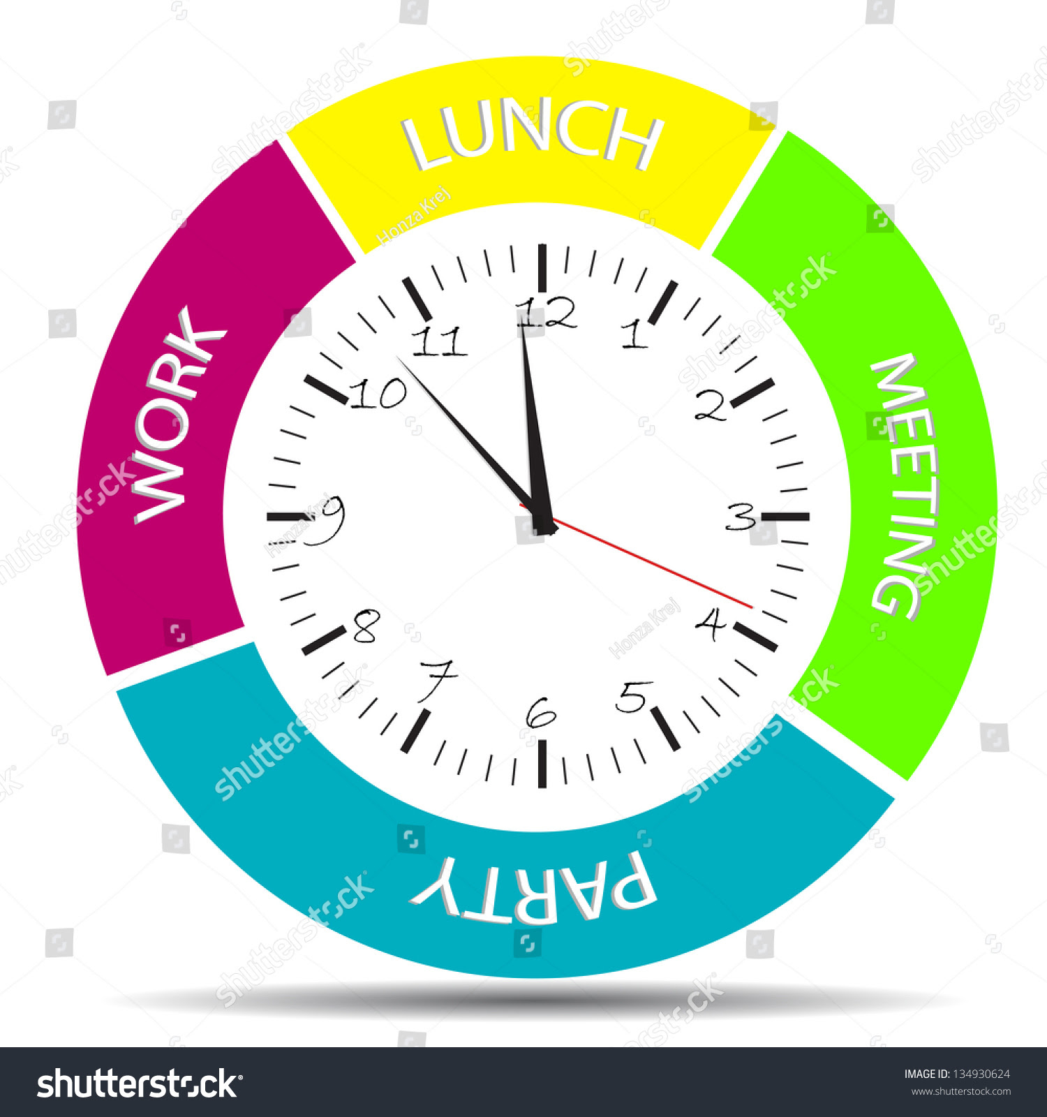 Daily Schedule Clock All Daily Activity Stock Vector 134930624 ...