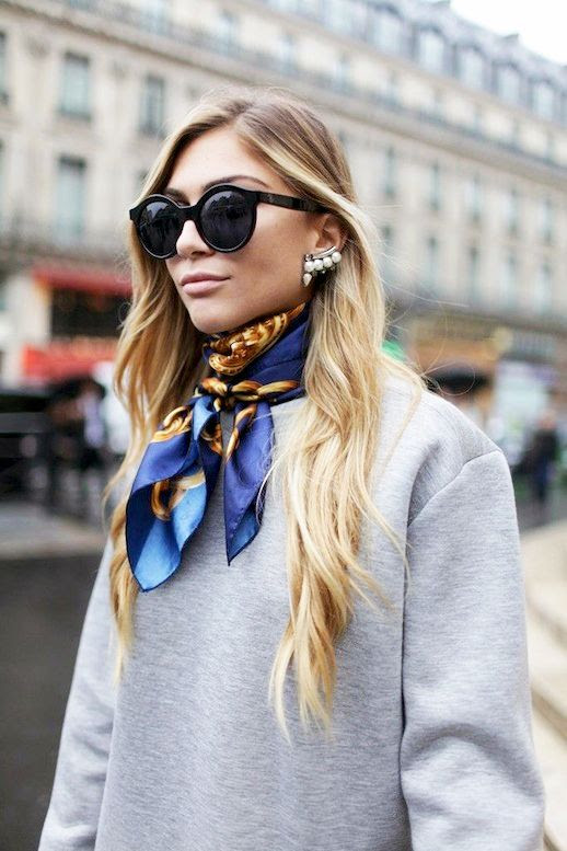 Le Fashion Blog Street Style Black Oversize Round Sunglasses Pearl Ear Cuff Grey Sweatshirt Silk Print Neck Scarf Via WWD