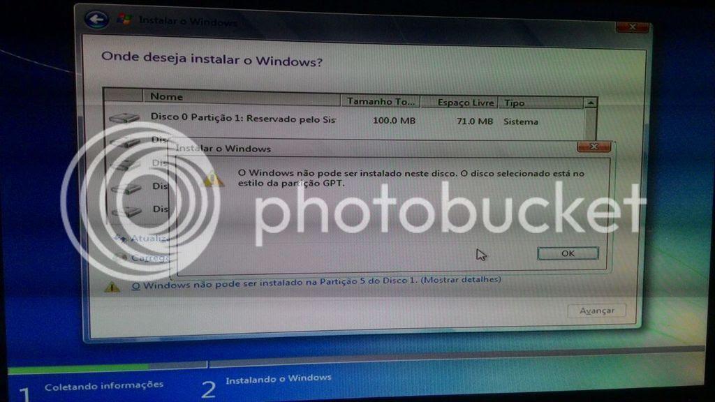 Mensagem de aviso após clicar no botão avançar: O Windows não pode ser instalado neste disco. O disco selecionado está no estilo da partição GPT.