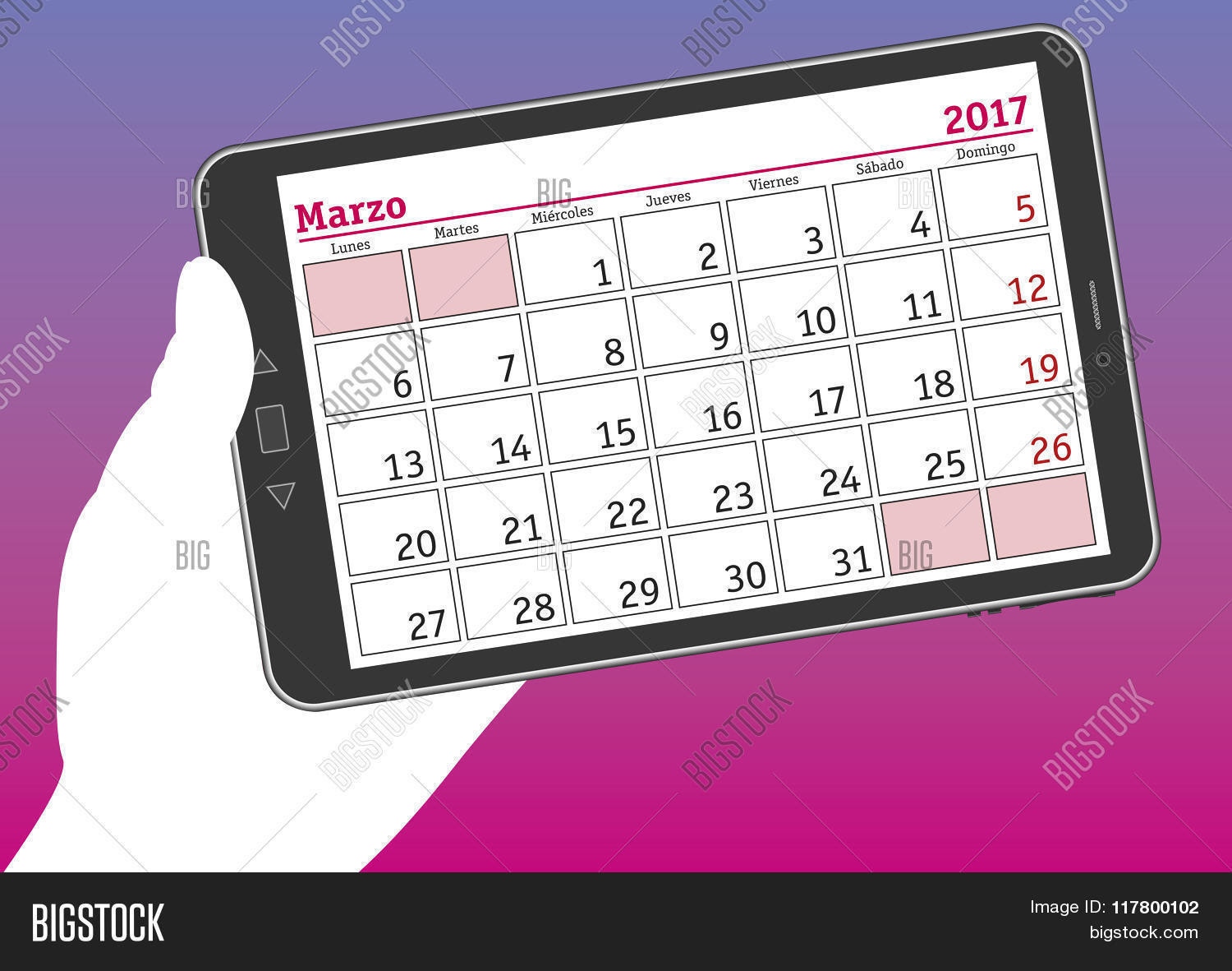 Tablet Pc With A Calendar Sheet Of March 2017 In Spanish Stock ...