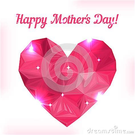 Happy Mother Day. Love Symbol. Pink Origami Heart Stock