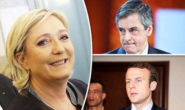 Marine Le Pen, Emmanuel Macron and Francois Fillon