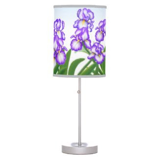 Purple Bearded Iris Garden Flowers Lamp