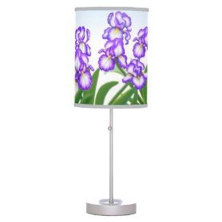 Purple Bearded Iris Garden Flowers Lamp