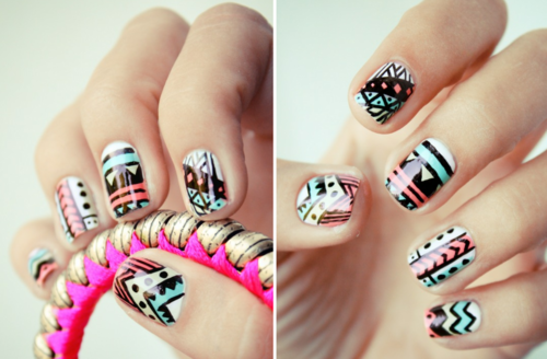 Funky-wedding-nail-art-for-modern-stylish-brides-pastel-with-black-pattern.original_large